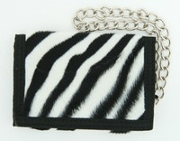 Zebra black-white fluffy with chain wallet