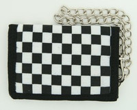 Check black-white fluffy with chain wallet