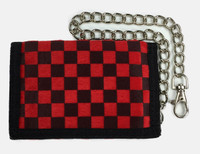 Check red-chocolate fluffy with chain wallet