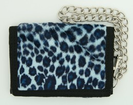 Leopard blue fluffy with chain wallet