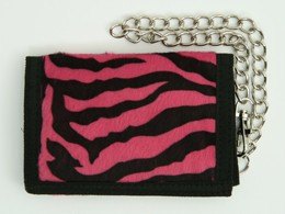 Zebra pink fluffy with chain wallet