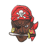Black pirate with blades in mouth - Yarrrr!