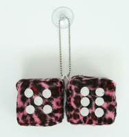 Dice leopard pink / white 2 dice car accessory