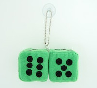 Dice green / black 2 dice car accessory