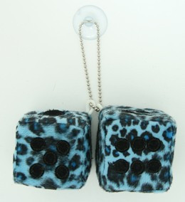 Dice leopard blue-black / black 2 dice car accessory
