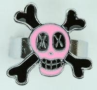 Sk cross eye pink skull ring