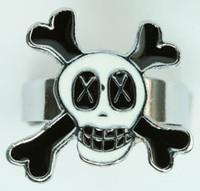 Cross eye white skull ring