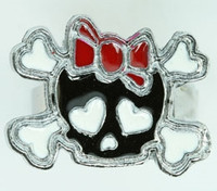 Cute Sk bone Bl-red skull ring