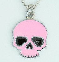 Skull plain pink skull necklace