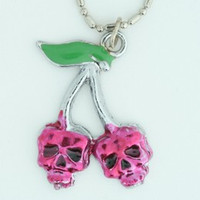 Skull cherry skull necklace