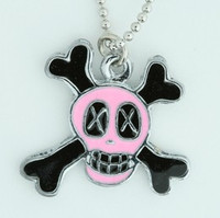 Cross eye pink skull necklace