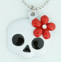 Skull flower white-red skull necklace