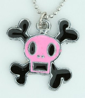Square pink skull necklace