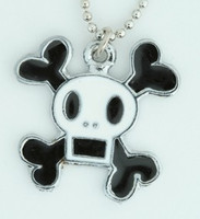 Square white skull necklace