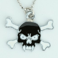 Tooth black skull necklace