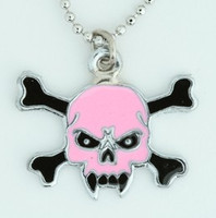 Tooth pink skull necklace