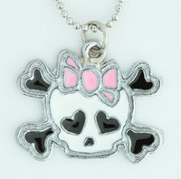 Cute skull bone white-pink skull necklace
