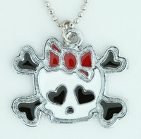 Cute skull bone white-red skull necklace