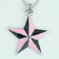 Star black pink star necklace