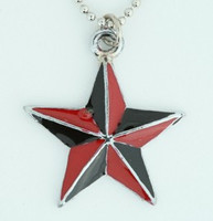 Star back-red star necklace