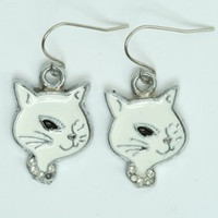 Cat white animal pendant