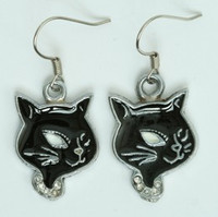Cat black animal pendant