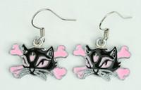 Cat bone black-pink animal pendant