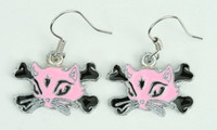 Cat bone pink-black animal pendant