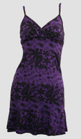 Front - Punk flower purple spaghetti dress