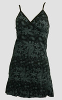 Front - Punk flower black-grey spaghetti dress
