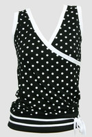 Front - Dot big black-white top fashion top
