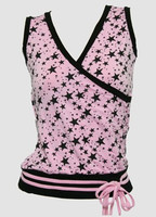 Front - Star pink-black top fashion top