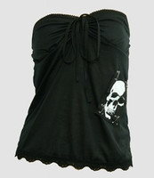 Front - PUB plain skull white big top punk top