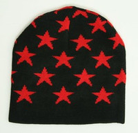 Stars black-red stars beanie