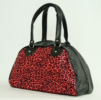 Leopard red medium bowling bag