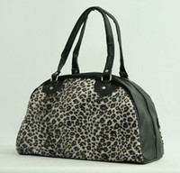Leopard L brown medium bowling bag