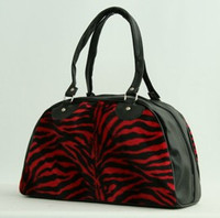 Zebra red medium bowling bag