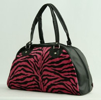 Zebra pink medium bowling bag