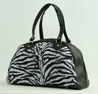Zebra white medium bowling bag