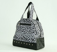 Leopard white medium bowling bag