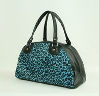 Leopard blue medium bowling bag