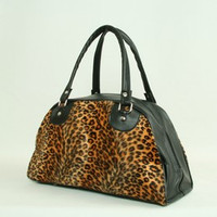 Leopard orange medium bowling bag
