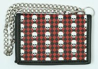Check red / skull plain white mixed with chain wallet