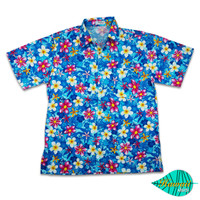 Mixed flower blue hawaii shirt