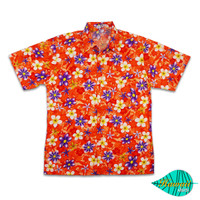 Mixed flower orange hawaii shirt