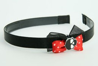 Black-red / skull plain black red bow & skull