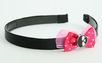 Pink / skull plain black dark pink bow & skull