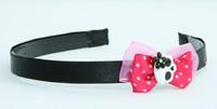 Pink / skull flower white-black dark pink bow & skull