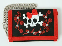 Skull lace red embroidery with chain wallet