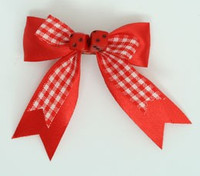 Check red / red-black dice hair clips piece